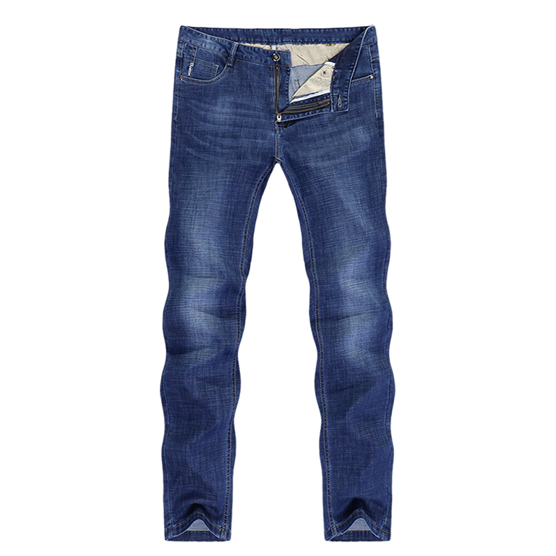 KSTUN Men's Jeans Stretch Solid Blue Straight Classic Regular Fit Jeans Fashion Pockets Leisure Businessman Long Trousers Male Homme 11