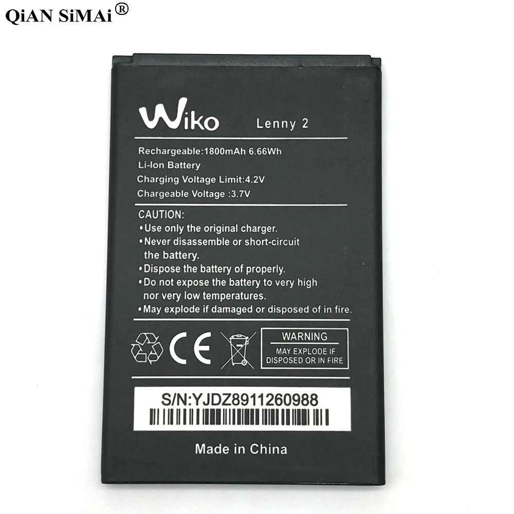 Battery For Mobile-Phone-Replacement-Batteries 1800mah 2-Lenny2 Accumulator Wiko Rechargeable
