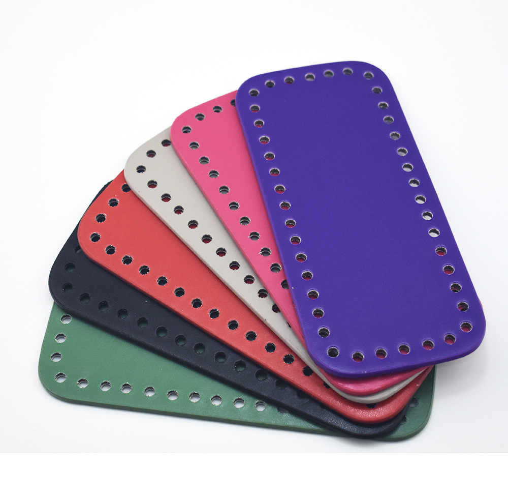 18x8cm Bottom For Knitting Bag PU Patent Leather Bag Accessories Rectangle Bottom With Holes Diy Crochet Bag Bottom