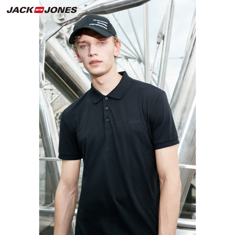 JackJones Men's Cotton&Silk Fabric Pure Color Short-sleeved   Polo   shirt Menswear C|219106520