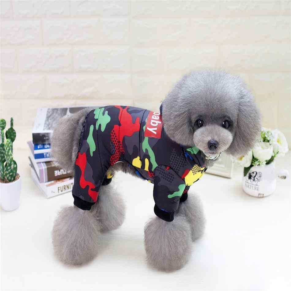 2019 애완견 옷 겨울 따뜻한 개 방풍 코트 개를위한 두꺼운 애완 동물 의류 의상 점프 슈트 후드 자켓 애완 동물 용품