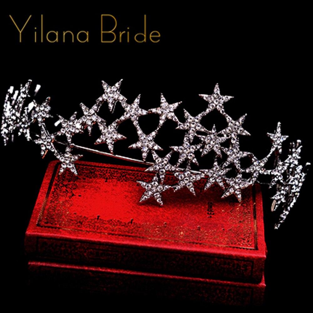 Estrela hairbands tiaras e coroas de casamento coroa de strass nupcial do cabelo do casamento da noiva acessórios de cabelo jóias