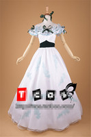 Anime Formal Clothing Cosplay Costume Suit Dance Party Custom Made White Short Sleeve Woman Dress