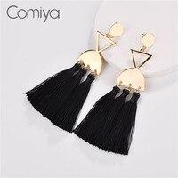 Comiya элегантные серьги для Для женщин хлопок длинные Ленточки золото Цвет узор корейской моды цинковый сплав букле D'Oreille Индии Bijoux