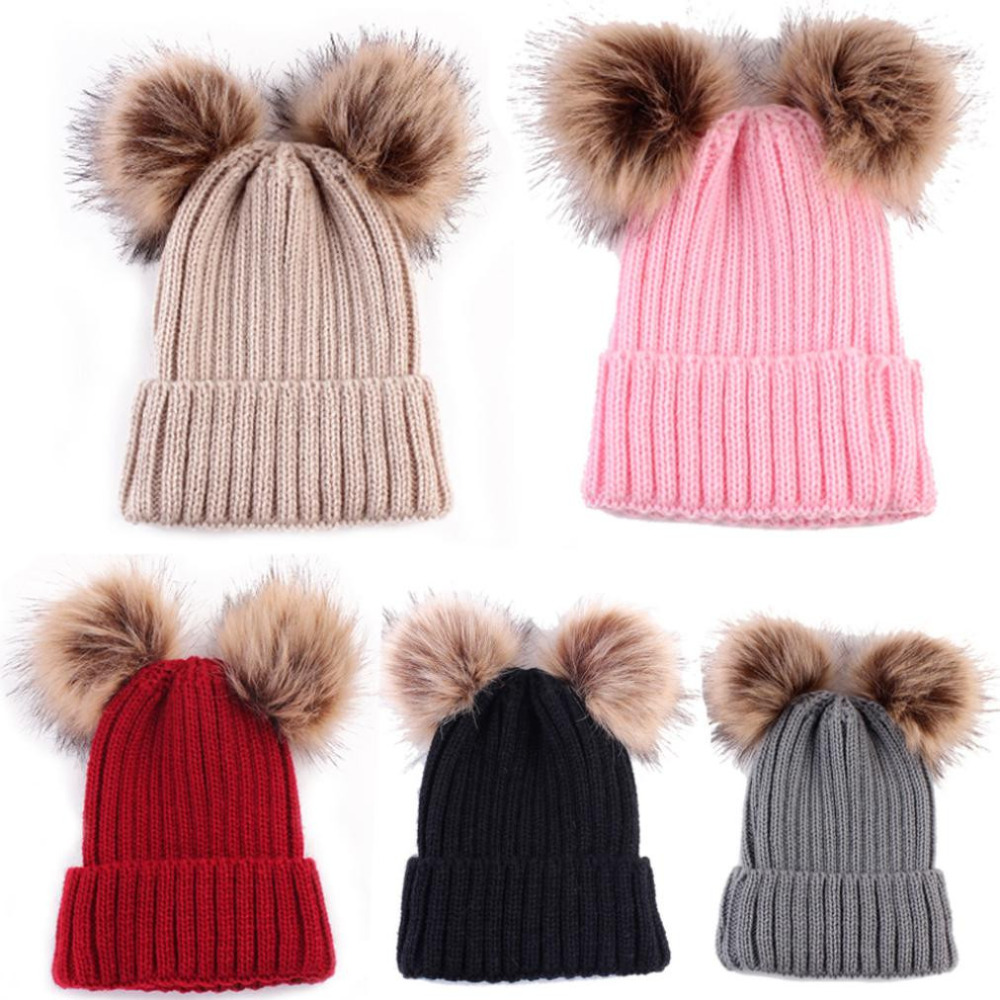 8104b086fa3 Detail Feedback Questions about US Newborn Cute Winter Baby Hat Fur Ball  Pompom Cap Cute Keep Warm Hats Knitted Wool Hemming Hat For Girls Hemming  Hat ...