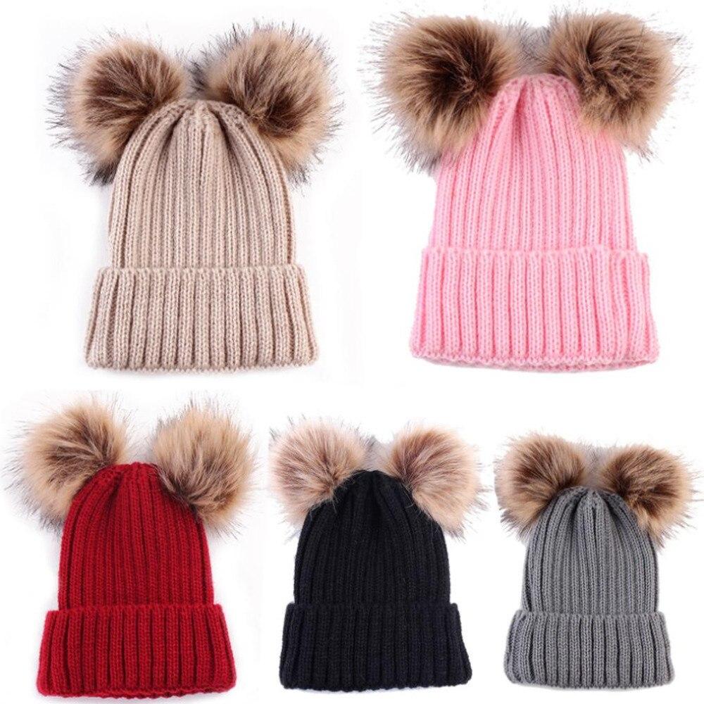 US Newborn Cute Winter Baby Hat Fur Ball Pompom Cap Cute Keep Warm Hats Knitted Wool Hemming Hat For Girls Hemming Hat Beanies