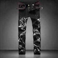 2017 New fashion Men's wolf printed jeans men slim straight Black stretch jeans high quality designer pants nightclubs singers