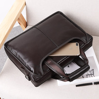 Classic Style Business Men S Genuine Leather Handbags With Double Magnetic Snap Pocket