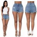 Meados Cintura Shorts Mulheres 2016 Verão Sexy Shorts New Fashoin Denim calções Buracos Jeans Curto Azul Pantalon Femme Plus Size 2XL Fino