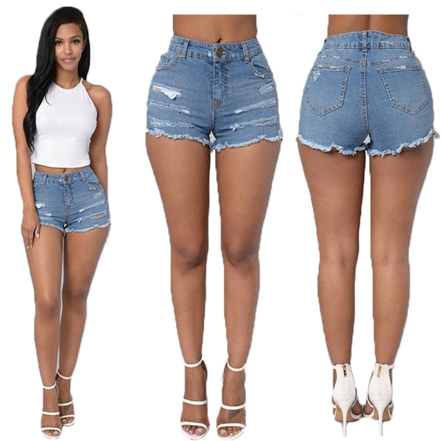 Mid Waist Women Shorts 2016 Summer Sexy Shorts New Fashoin Denim Shorts Holes Short Jeans Blue Pantalon Femme Plus Size 2XL Slim