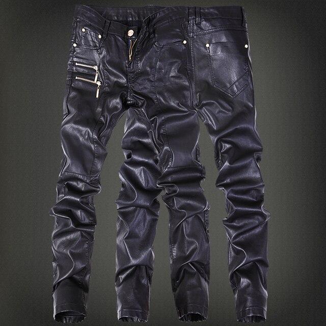 Зима мотоцикл мужская рок кожаные штаны с молниями черный искусственной плотно skenny Большой размер 30 31 32 33 34 36 панк брюки