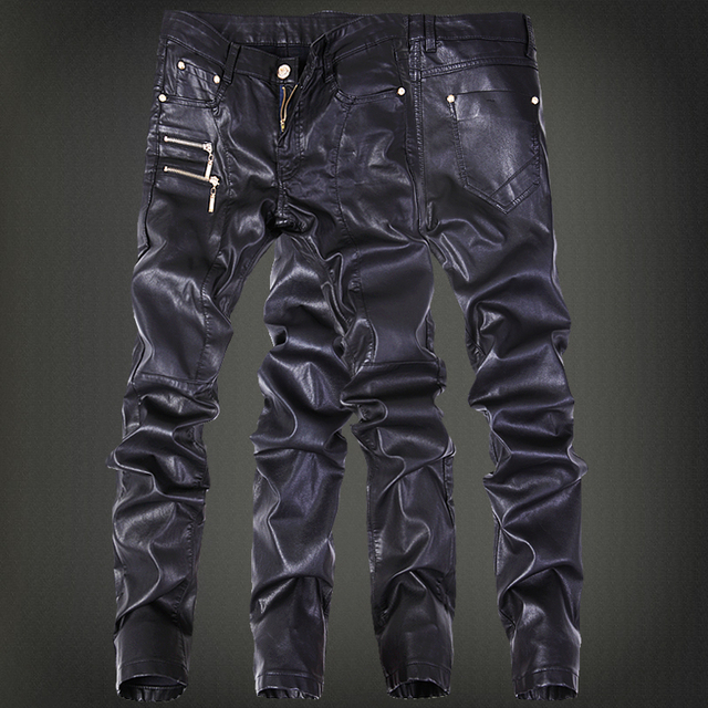 Winter Motorcycle Mens rock leather pants with zippers Black Faux Tight skenny Plus size 30 31 32 33 34 36 Punk trousers