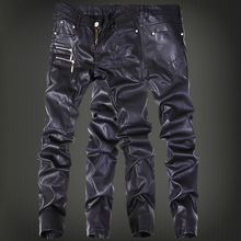 Winter Motorcycle Mens rock leather-based pants with zippers Black Faux Tight skenny Plus dimension 30 31 32 33 34 36 Punk trousers