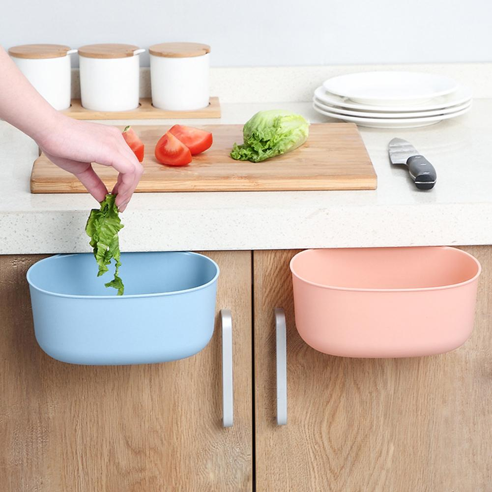 Kitchen Cabinet Door Hanging Rubbish Trash Bin Can Sundries Holder Container Trash Garbage Can For Home Cleaning Accessories