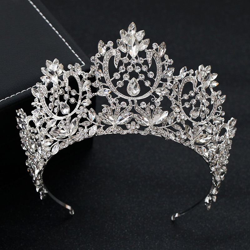 KMVEXO New Vintage Luxury Big European Bride Wedding Tiaras Gorgeous Crystal Large Round Queen Crown Wedding Hair Accessories-in Hair Jewelry from Jewelry & Accessories