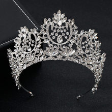 KMVEXO New Vintage Luxury Big European Bride Wedding Tiaras Gorgeous Crystal Large Round Queen Crown Wedding Hair Accessories(China)