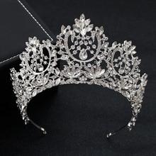 KMVEXO Nieuwe Vintage Luxe Grote Europese Bruid Bruiloft Tiara Gorgeous Crystal Grote Ronde Queen Kroon Bruiloft Haar Accessoires
