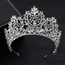 KMVEXO ใหม่ VINTAGE Big ยุโรปเจ้าสาวงานแต่งงาน Tiaras คริสตัลขนาดใหญ่ Queen Crown อุปกรณ์เสริมผม