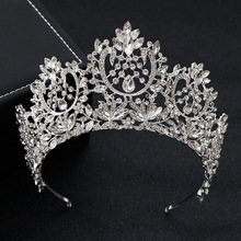 Kmvexo 새로운 빈티지 럭셔리 큰 유럽의 신부 웨딩 tiaras 화려한 크리스탈 대형 라운드 퀸 크라운 웨딩 헤어 액세서리