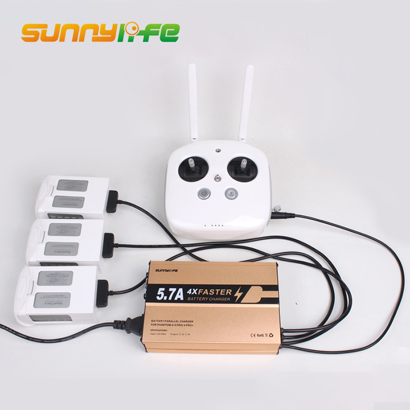 Sunnylife DJI 4 in 1 Intelligent Battery Charging Hub for DJI Phantom 4 A / Pro Battery Remote Controller 17.5V 4A Charger dji phantom 3 battery charging hub power management for phantom3 series charger original accessories