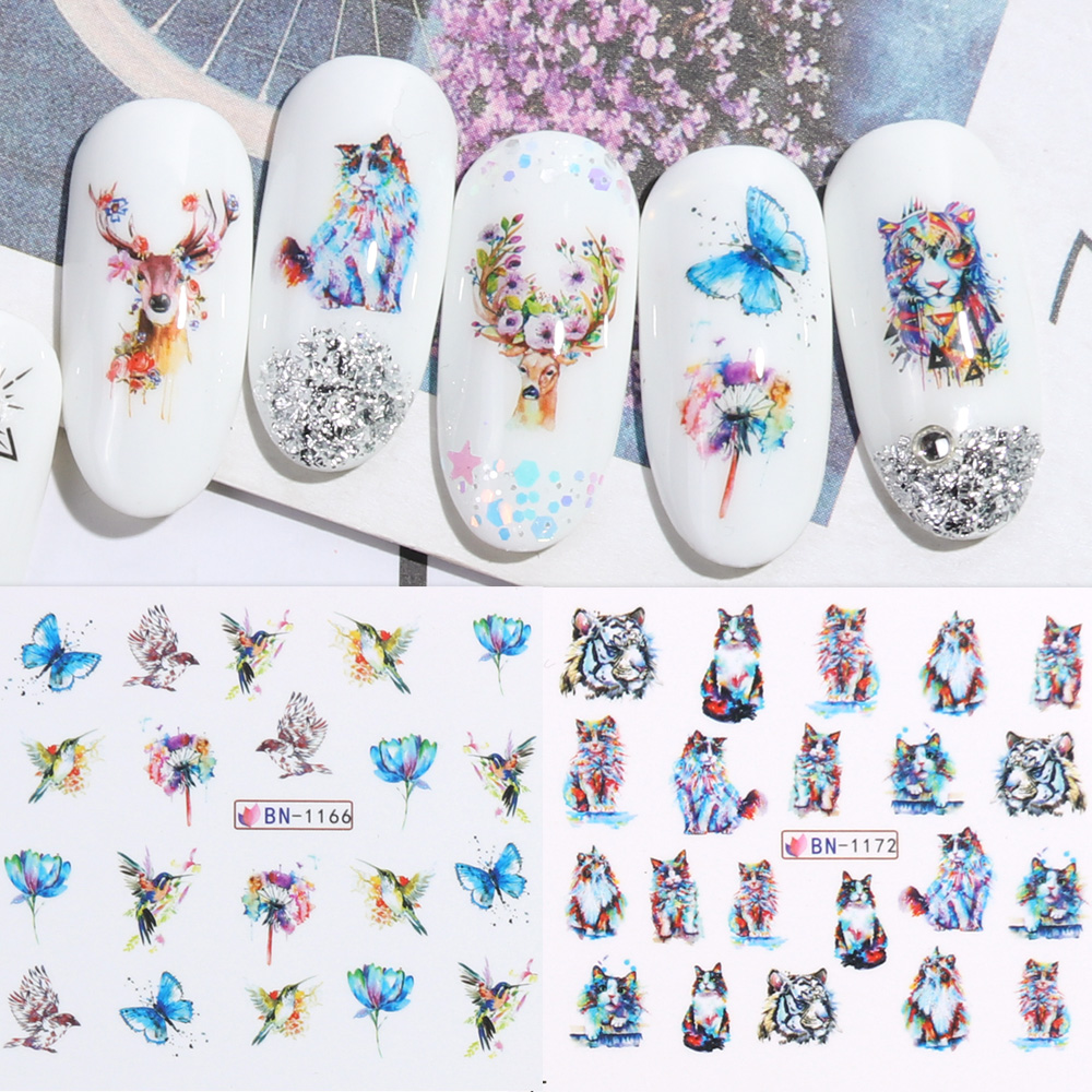 Nail Stickers Cat Flowers Flamingo Animal Water Transfer Decals Tattoo Decoration Foils Wraps Manicure Accessories (5)