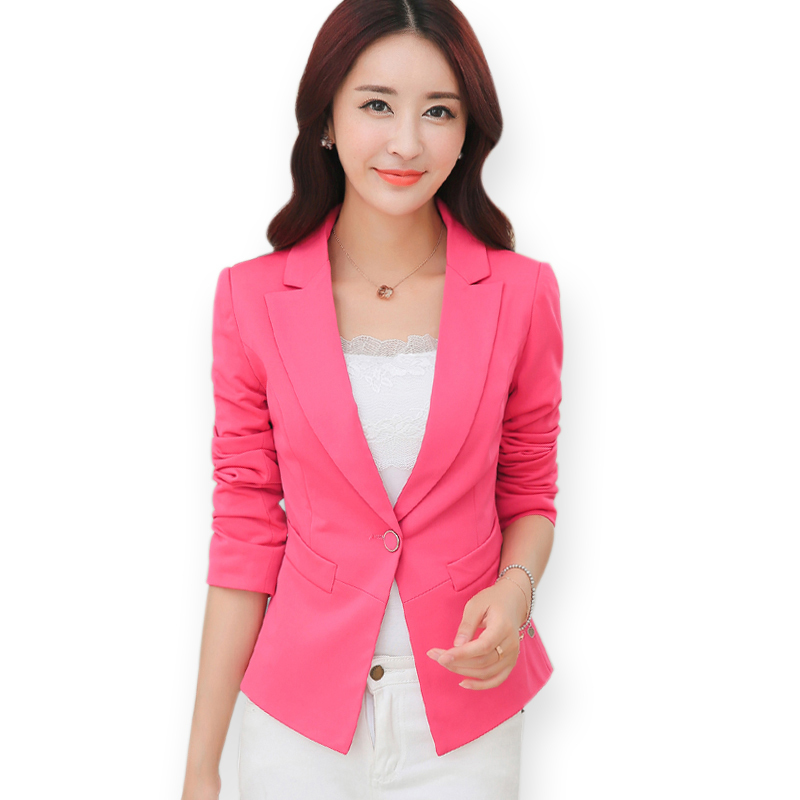 Candy Color Black Pink Single Button Blazer Women Autumn Long Sleeve Blazers 2015 Ladies Formal ...