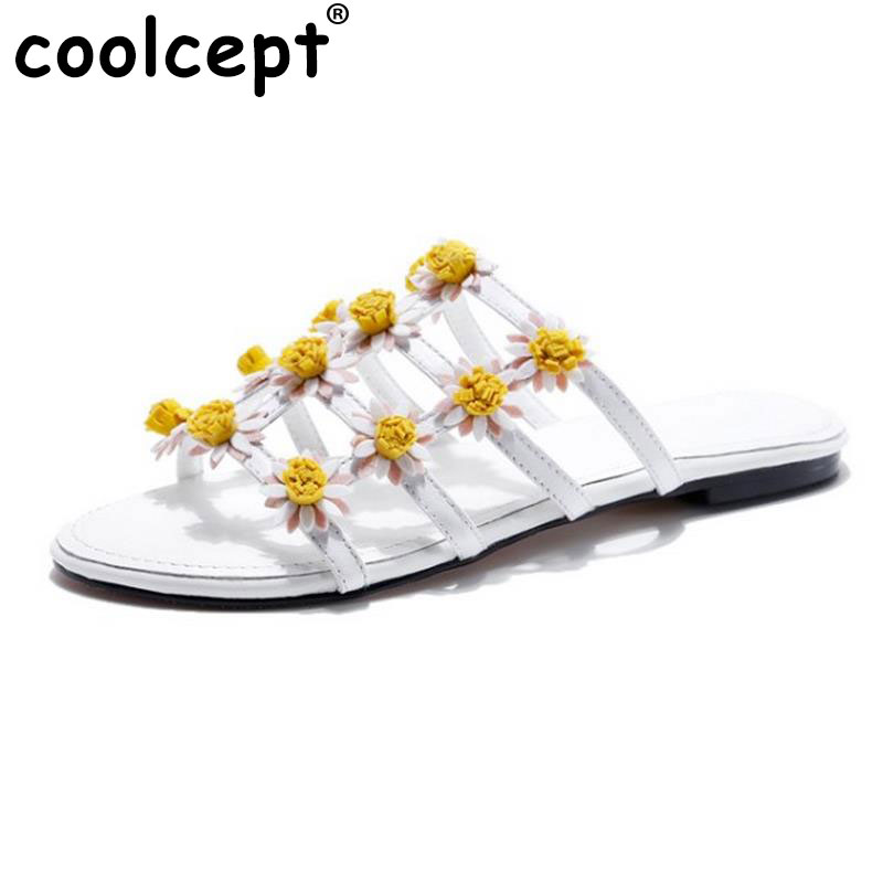 Coolcept Sexy Lady Real Leather Flats Sandals Women Folower Slipper Open Toe Summer Shoes Beach Vacation Footwears Size 34-39 real sexy steal набор для глаз