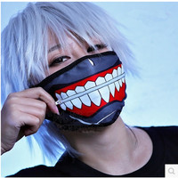 Cartoon Tokyo Ghoul   Masks   Kaneki   Mask   Cotton Not Pu Leather Zipper Dust-proof Cool   Mask   Blinder Anime Cosplay for   Party