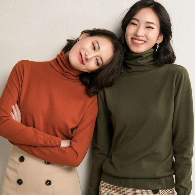 LHZSYY 2018 Autumn and Winter New Women' Sweater Fashion Soft High Neck Knit Pullover Solid Color Short Wool Sweater Warm Blouse 3