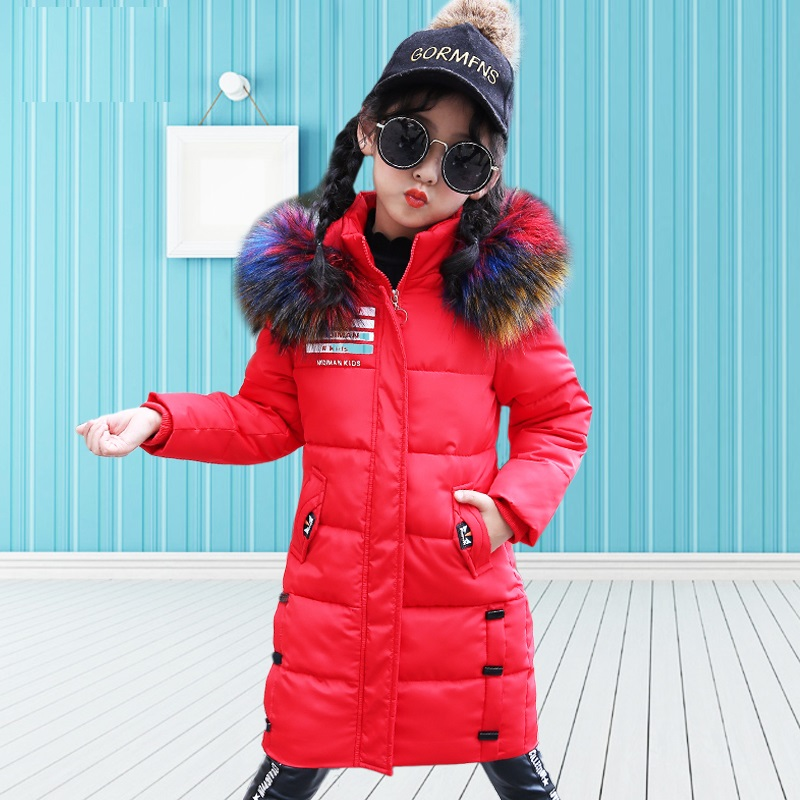 2018 Fashion Children Winter Jacket Hoodies Coats Big Fur Collar Coat For Girls Cotton Padded Outerwear Warm Parkas Kids Clothes