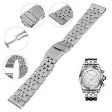 a118b774229 Substituição Pulseira Wrist Strap Pulseira de Prata clássico Cinto Com  Fecho Magnético Stainess Aço Fivela De Relógio Breitling