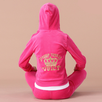 winter autumn sporting Suits Women female Velvet Tracksuits crown Embroidered Hooded Jacket Pants 2 Piece Set Sportswear femme