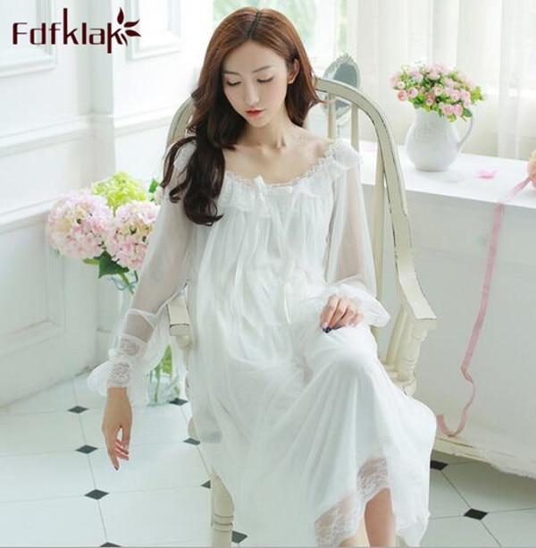 beeec57612 Princess Nightgown Women Summer Long-sleeved Sleepwear Retro Translucent  Lace Dress Sexy Ice Silk Nightwear Loose Night Shirt