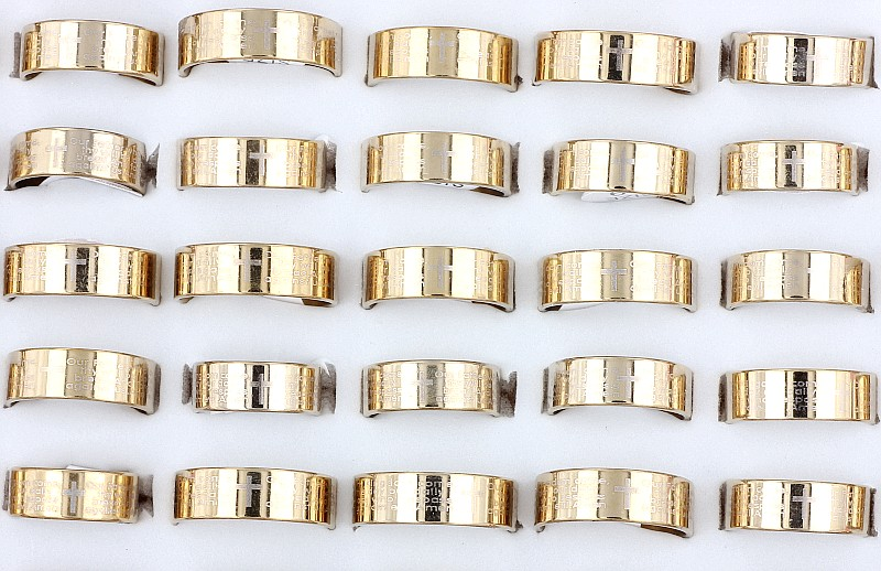 Wholesale Bulk Lots 30Pcs Fahion Men's Gothic Gold English Scriptures Cross Stainless Steel Rings Christian Xmas Gift Free