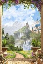 Laeacco замок на горы пейзаж цветы сад арки фотографии Фоны для Аксессуары для фотостудий Винил Custom фото фонов