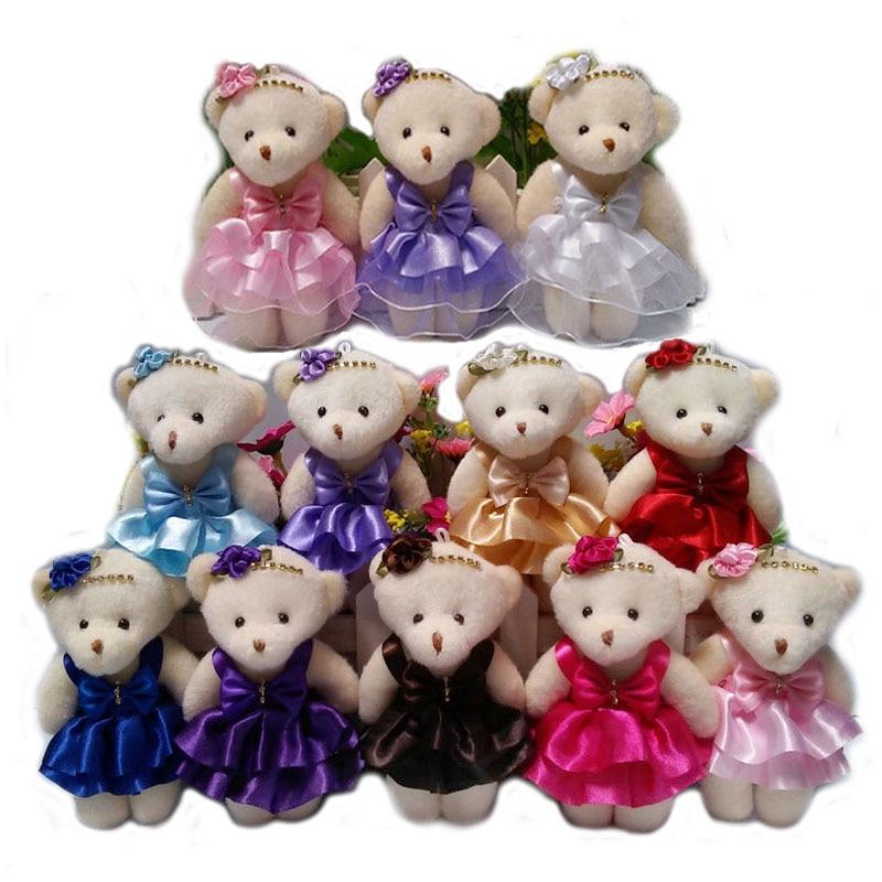 Jnj My Store >> NEW 12CM 10pcs/lot pp cotton kid toys plush doll mini small teddy bear flower bouquets bear for ...