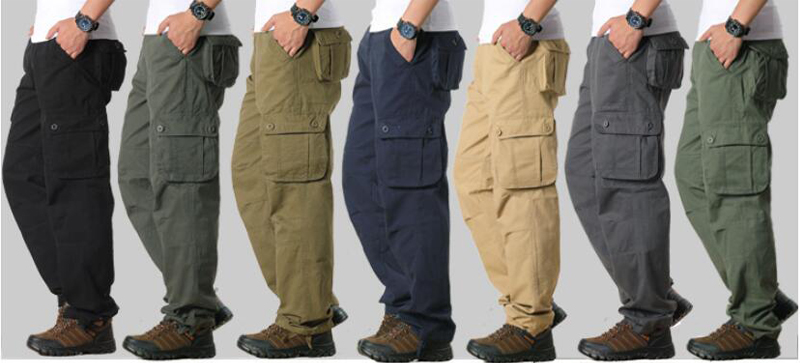 HTB1LEqEaErrK1RkSne1q6ArVVXaN Men's Cargo Pants Mens Casual Multi Pockets Military Large size 44 Tactical Pants Men Outwear Army Straight slacks Long Trousers