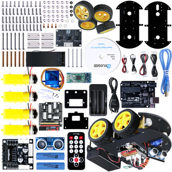 Elegoo Arduino Robot Car Kit Mega 2560 UNO Project Stepper Motor Electronics Kit Smart V 3.0 with UNO R3, Line Tracking Module tracking motor smart robot car chassis kit 2wd ultrasonic for arduino mcu