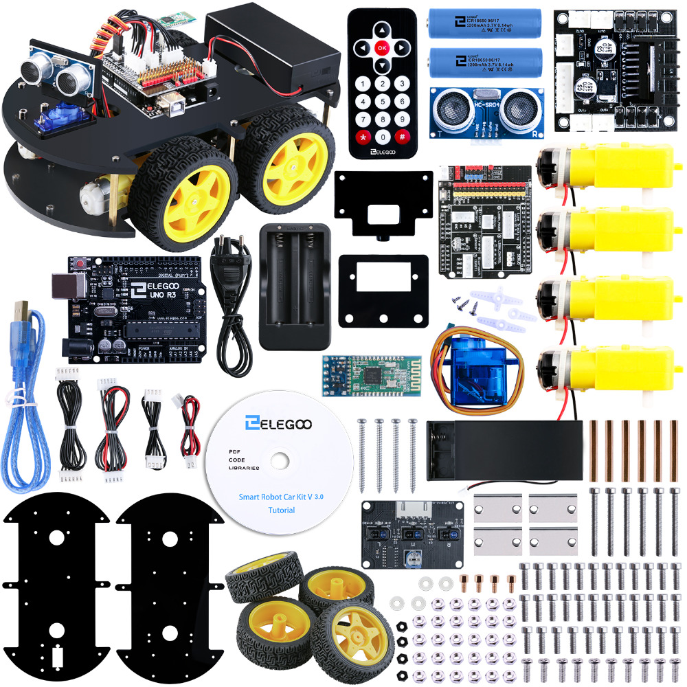 Elegoo Arduino voiture robotisée Kit cadeau de noël UNO Projet Smart V 3.0 avec UNO R3, Ligne Module de Suivi