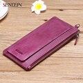 Sendefn Soft Genuine Leather Women Wallets Long Lady Purse Wallet Female Card Holder Phone Coin Pocket Wallet Women