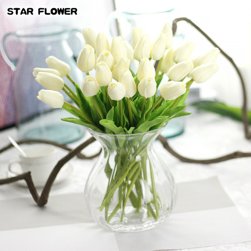 10Color Artificial Tulip Fake Flower Latex Bridal Wedding Bouquet Party Decor