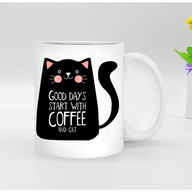 Free Shipping Funny Novelty Black Cat Ceramic White Coffee Mug Tea