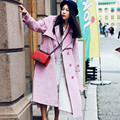 [AIGYPTOS-MX]Autumn Spring Women Eelgant Romantic Classic Double Breasted With Belt Casual Loose  Long Suede Trench Coat Pink