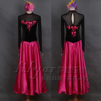 Ballroom competition dance dress black rose red embroidered big swing with rhinestone for women