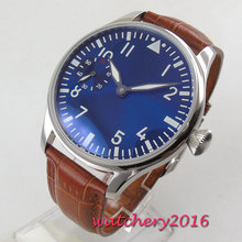 цена Luxury 44mm PARNIS Blue Dial men's watch luminous hands 17 jewels mechanical 6497 hand winding movement Men's watch онлайн в 2017 году