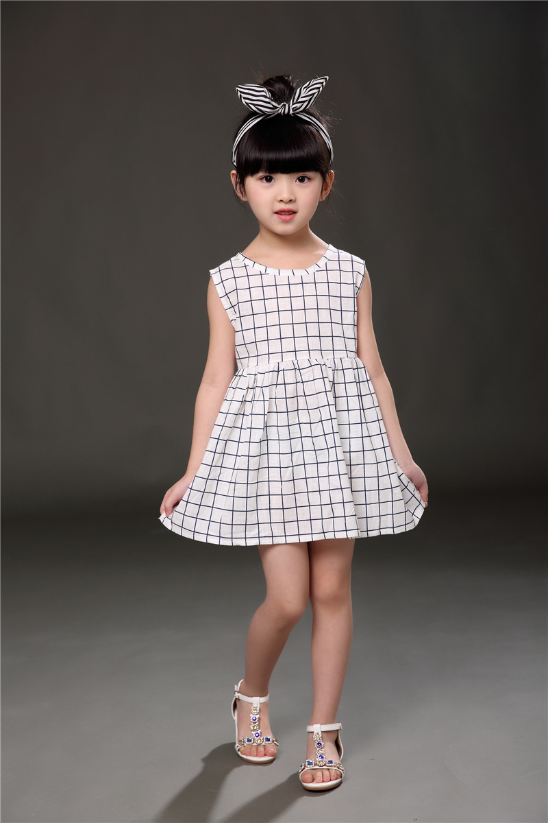 Oklady 2017 New Summer Kids Clothing Girls Dresses Plaid Cute Dress Ruched A line Girls Dresses