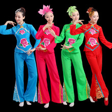 Chinese style Hanfu female adult suit middle-aged old drums Yangko dance costumes square