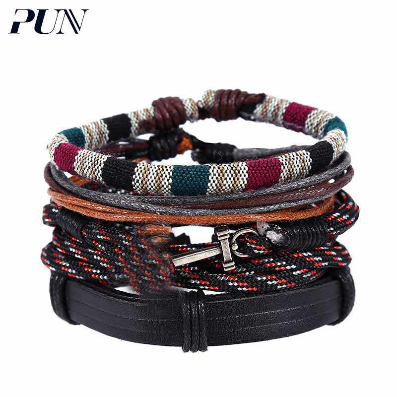 PUN mens bracelets 2018 punk personalized charm couple leather anchor braided bracelet men male female femme accessories women