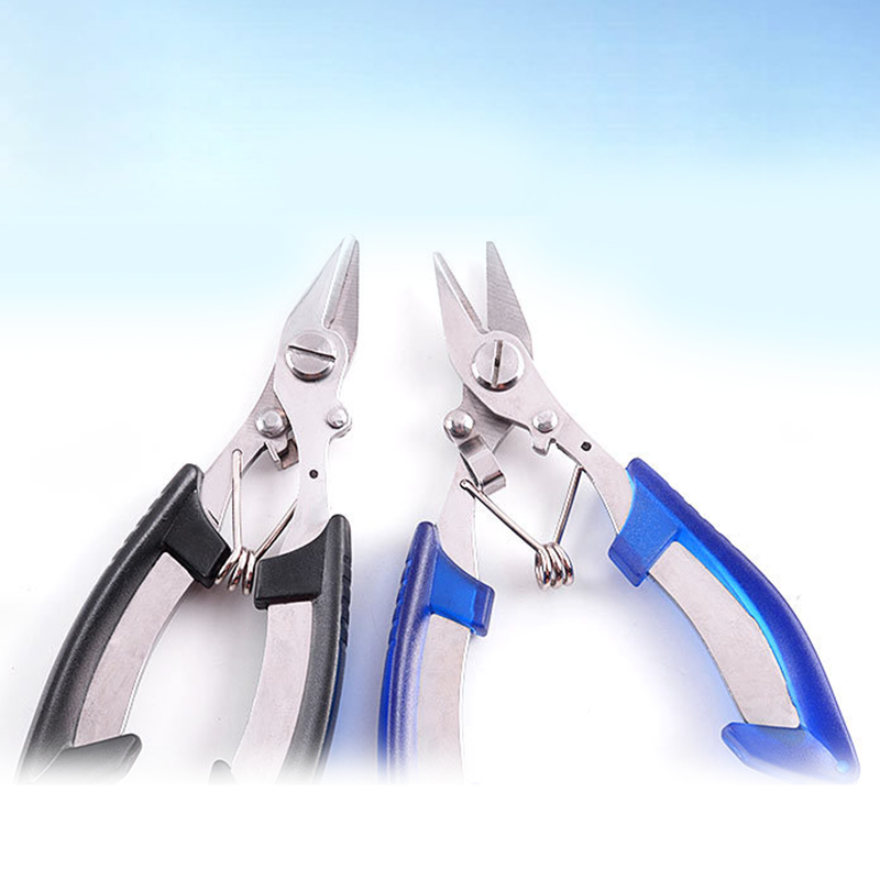 Stainless Steel Fishing Pliers Non-slip Fishing Braided Line Cutters Fishing Tackle Crimping Pliers Slicer Scissor Fishing Tool