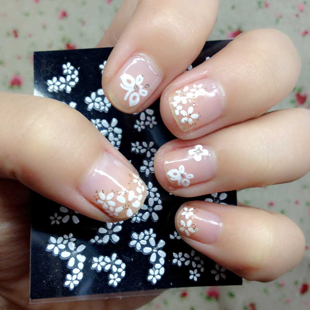 50 Sheet 3D Mix Color Floral Design Nail Stickers Decals Beautiful ...